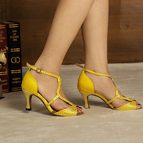 Da donna Minitoo Hot nastro di raso sera matrimoni sandali Cha Latin Dance scarpe Giallo (giallo)