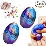hirsrian Fluffy Slime, 2 packs 60 g Galaxy Egg Slime Floam Colorful Mud Nontoxic DIY Toys for Kids and Adult ...