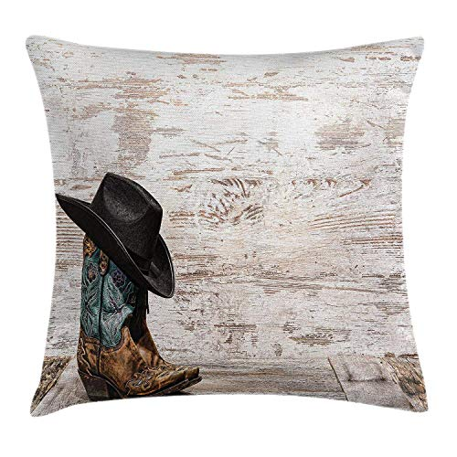 Yinorz Western Throw Pillow Cushion Cover, Traditional Rodeo Cowboy Hat and Cowgirl Boots Retro Grunge Background Art Photo, Decorative Square Accent Pillow Case, 18 X18 Inches, Brown Black -