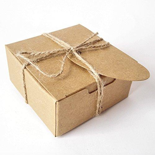 Nobby Seifen-Geschenkverpackungen Basteln Karton Papierbox mit Hanfschnur und Anhänger-Kärtchen, 50 Stück Square Brown Box With Brown Tags