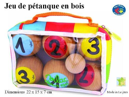 Jeu de pétanque enfant en bois pour 3 joueurs - artisanat Français - finition superbe