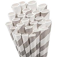 Aardvark Paper Straws Unwrapped Jumbo, 20 cm, per bambini, 50 kg, colore: grigio e bianco a righe