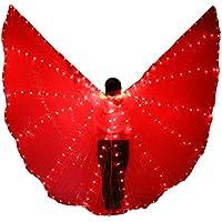 YI NA SHENG WU LED resplandeciente ISIS Wings 360 Degrees alas de Danza del Vientre Profesional con Palos (Rojo)