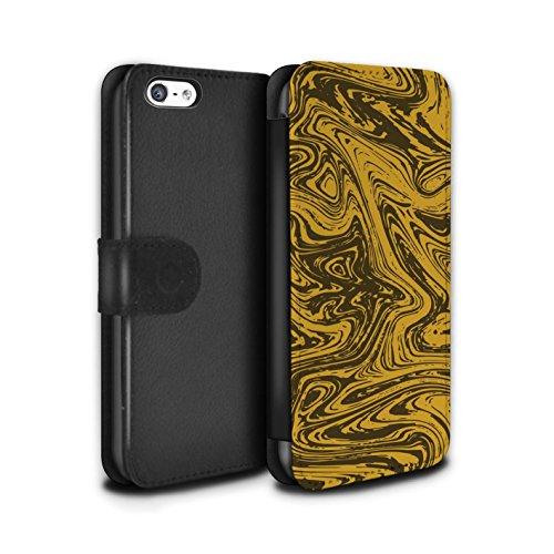 Stuff4 Coque/Etui/Housse Cuir PU Case/Cover pour Apple iPhone 5C / Rouge/Rose Design / Effet Métal Liquide Fondu Collection Or