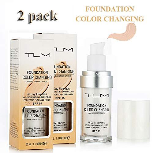 TLM Concealer-Abdeckung, TLM 30 ml Makellose Farbwechselgrundierung, Langlebige flüssige Grundierung für Frauen, Mädchen, Makellose Farbwechselgrundierung, Make-up-Basis, 2er-Pack