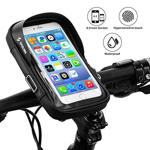 La\'prado Fahrradrahmentasche, wasserdichte Fahrradlenktasche Fahrradhalterung für iPhone 7 Plus / 6s Plus / 6 Plus/Samsung S7 Edge Andere bis zu 6 Zoll Smartphones (Schwarz)
