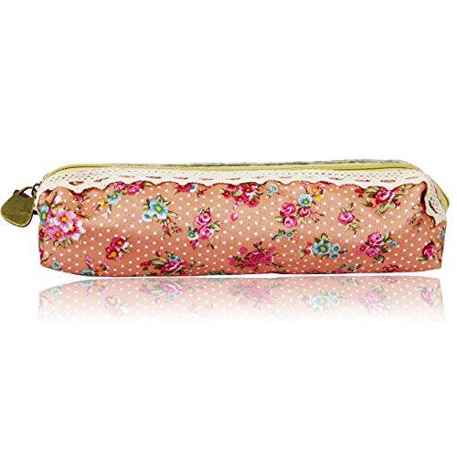 Sanwood Frauen Flowy Blumenspitze Bleistift-Feder-kosmetischer Beutel-Reißverschluss-Beutel (Pink)