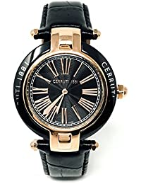 Cerruti 1881cerámica crwm040z282N Lady reloj 36mm, correa de cuero, negro oro rosa tono