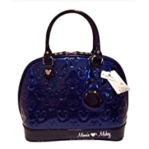 Disney Mickey Minnie Mouse Blue Patent Leather Embossed Handbag Loungefly