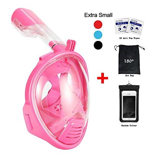 Masque de plongée avec tuba et vue complète à 180° avec emplacement pour GoPro pour adulte et enfant par Vaporcombo, ChildPink