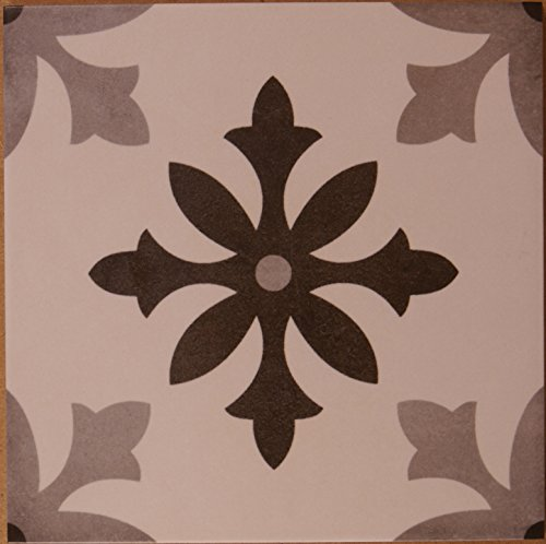 Creme Bodenfliese (Zementoptik Bodenfliesen Dekor grau creme mix glas. 22,3x22,3x1,0cm 1 Krt=1,0qm)
