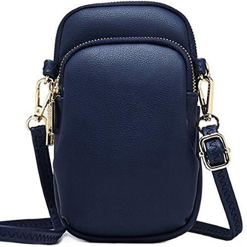 WANYIG Crossbody Tasche Damen PU Leder Umhängetasche Frauen Brieftasche Geldbörse Handy Mini-Tasche Kartenhalter Schulter Brieftasche Tasche (Blau) -