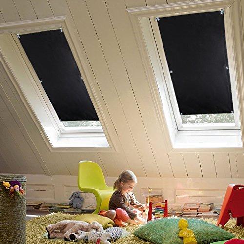 KINLO 38x75 cm Thermo Dachfenster Sonnenschutz Verdunkelungsrollo für Velux Dachfenster aus 100% Polyester mit Krafthaftsaugern und Silber Thermo-Beschichtung