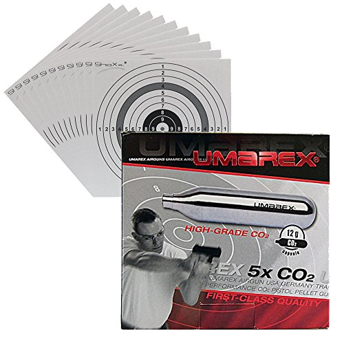 Umarex Co2 Kapseln á 12g - 5er Packung für Co2 Airsoft Waffen geeignet + 10 original ShoXx.® shoot-club Zielscheiben mit 250 g/m²