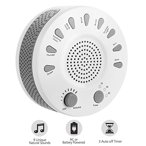 Sleep White Noise Machine, ARTIFUN Portable Sound Therapy for Baby and Adult Sleeping and Relaxation Device, 9 Natural Sounds, Auto-Off Timer, USB or Battery Powered
