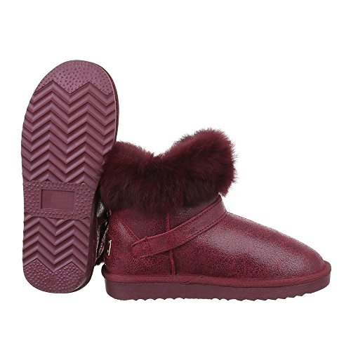Damen Schuhe, 5860, STIEFELETTEN ECHTLEDER BOOTS Weinrot