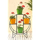 Green Gardenia Iron Hoop Round Pot Stand with 4 Metal Planter in Yellow & Green
