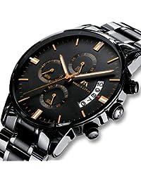 fdd9b8cd386f Montre Homme Montre Militaire Etanche Chronographe Sport Acier Inoxydable  Noir de Luxe Design Montres Bracelets Date