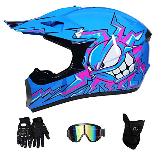 RAON Adult Motocross Helmet MX Motorcycle Helm ATV Scooter ATV Helm D.O.T Certified Multicolor mit Goggles Gloves Mask (S, M, L, XL),Blue,M(54~55cm) -