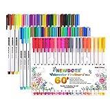 Dünne Farbstifte von Newdoer, 60erPackung - 0,4mm Faserspitze, Filzstifte–Perfekt für Erwachsene, Journals und Notizen