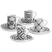 Vista Alegre portugués adoquines de tazas de café y platillos de porcelana, ...