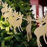 CLOOM Weihnachtsdeko 10 Stücke Holz Anhänger Weihnachtsbaum Chip Baum Ornamente Weihnachten Hängen Anhänger Dekoration Geschenk Weihnachtsfenster-Verzierungen Anhänger Baumschmuck mit Seil (Elch)