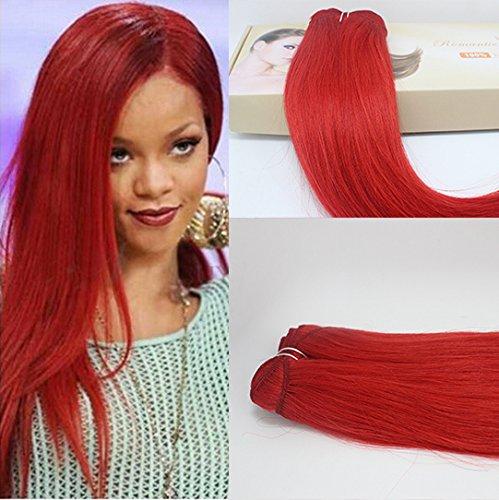 Romantic Angels®100% Remy longue ligne droite prolongation de cheveux humains de trame 50cm 100g Rouge