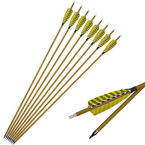 SHARROW 12pcs Carbonpfeile 30 Zoll mit Naturfedern Carbon Pfeile für Bogen Kohlenstoff Pfeil mit Truthahnfeder Spine 450 Bogenpfeile für Compound und Recurvebogen
