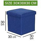 Sterling Foldable Ottoman Storage Box Cum Stool - Linen Fabric Foldable Basket Cubes