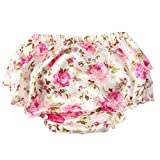Culotte Bébé Fille Satin Floral PP Pantalon Rose Couvre-couches Dentelle pour 0-3 ans Prop Photographie Mignon Lace /Fleur Blanc M