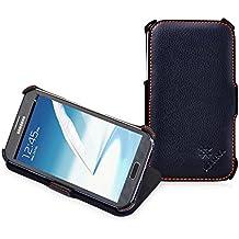 Manna - Funda de piel para Samsung Galaxy Note 2 N7100 con función soporte | Cuero suave y liso | Flip Case Cover