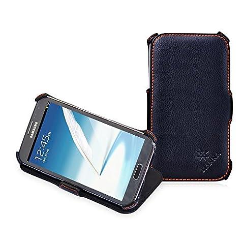 MANNA UltraSlim Hülle für Samsung Galaxy Note 2 N7100   Case Standfunktion   Tasche aus feinstem Oberleder, Echtes Leder- schwarz, mit farblich abgesetzter Naht  Innenseite mit Microvlies gepolstert