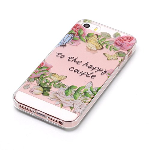 Cover iPhone 5S Spiritsun Case iPhone 5 Custodia iPhone SE Moda Ultraslim Trasparente Soft TPU Case Handy Cover High Quality Case Elegante Souple Flessibile Liscio Copertura Perfetta Protezione Shell  Corona
