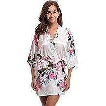 bf07647fd6 Aibrou Donna Elegante Vestaglia Scollo a V Pigiama Kimono Pavone Esotici,  Fiore Camicia da Notte