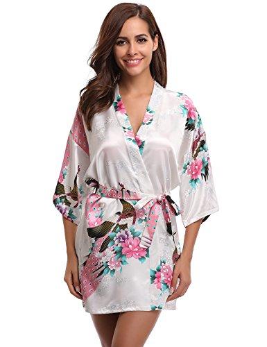 Aibrou Damen Morgenmantel Kimono Robe Bademantel Schlafanzug Nachtwäsche Kurz aus Satin mit Peacock und Blüten Weiß M (Kurz Nachtwäsche)