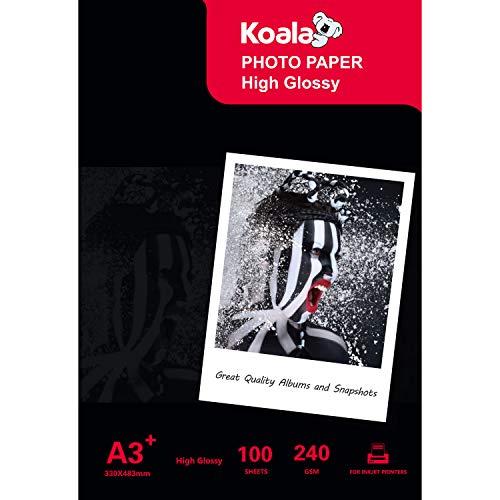 KOALA Inkjet Fotopapier A3+, 330 x 483 mm, glänzend, 240 g/m², 100 Blatt - 13x19 Drucker