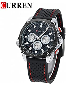 OrrOrr CURREN Datum Tag Herren Uhr Analog Quarzuhr Silikon schwarz Armbanduhr blau