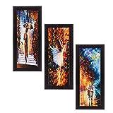 #9: eCraftIndia Satin Matt Textured Synthetic Wood Art Painting (17.8 cm x 1.3 cm x 40.7 cm, Set of 3, C3FPB2105)