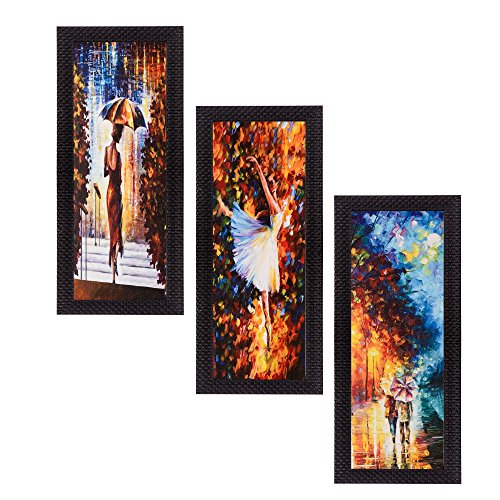 eCraftIndia Satin Matt Textured Synthetic Wood Art Painting (17.8 cm x 1.3 cm x 40.7 cm, Set of 3, C3FPB2105)