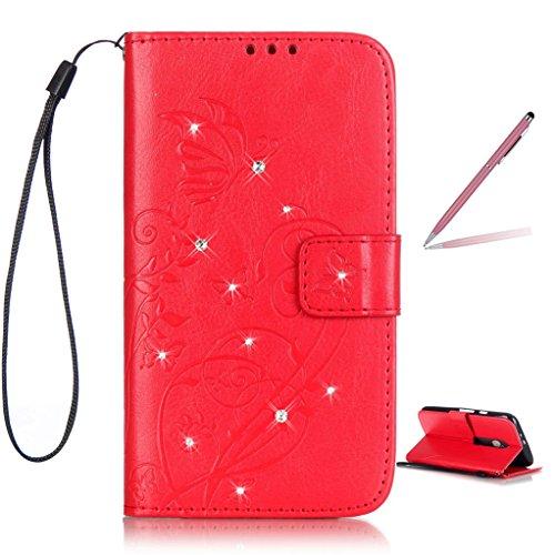 Trumpshop Smartphone Schutz Schale Tasche Handyhülle für Motorola Moto G 3rd Generation (2015) / Moto G3 (Diamant Serie) + Rot + PU Lederhülle Flip Etui Hülle SchutzHüllen Standfunktion