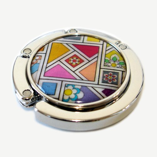 Mother of Pearl Yellow Red Pink Patchwork Design Foldable Table Purse Caddy Handbag Holder Hanger Hook with Gift Box (Hook Hanger Caddy)