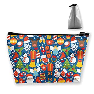 Winter Christmas Red Pattern Makeup Bag Large Trapezoidal Storage Travel Bag Wash Cosmetic Pouch Pencil Holder Zipper