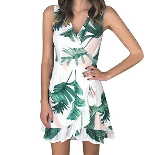 Heiß! Kanpola Damen Kleider Frauen Halbe Hülse Lose Blumendruck Maxikleid Tunika Shirt Bowknot Ärmeln Cocktail Casual Party Kleid,X-WeißX-Weiß -