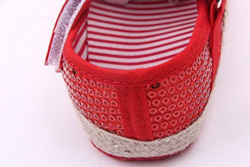 Bigood Baby Mädchen Krabbelschuhe Schleife Pailletten Muster Baby Schuh Lauflernschuhe Rot