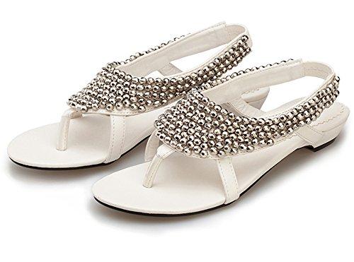 Fortuning's JDS 2016 perlées chaussures tong! Nouvelles arrivées femmes sandales plates Blanc