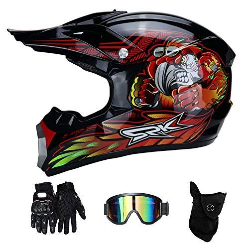 LJ-GJ Outdoor Radfahrer Kostüm- Motorradhelme-Motocross Motorrad & Handschuhe & SCHUTZBRILLE Kinder Quad ATV Go Kart Helm (Motocross Kostüm Kinder)