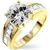 ISADY - Antoinette Gold - Damen Ring Solitär - 585er 14K Gold platiert - Zirkonium - Verlobungsring - T 57 (18.1)