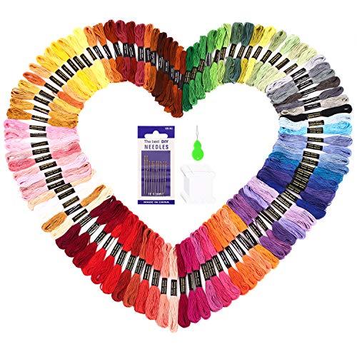 SOLEDI Stickgarn Embroidery Floss Multifarben Weicher Polyester Perfekt für Freundschaftsbänder Kit Stickerei Basteln Leisure Arts Kreuzstich Embroidery Threads Nähgarne Häkeln 8m Einweg (100 Farben) -