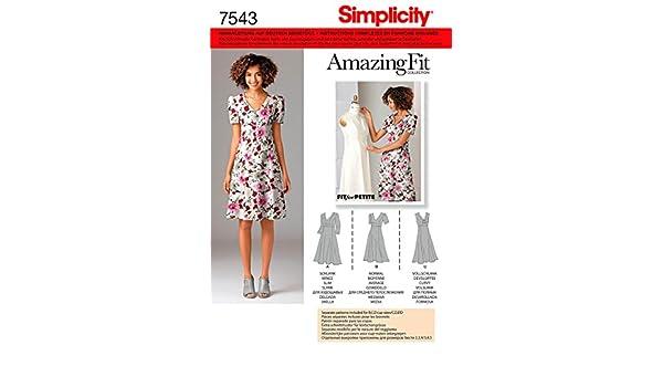 B,C,D oder C,D,DD Gr. Cupgr Simplicity Schnittmuster 7543 BB Kleid mit individuellen Schnittteilen