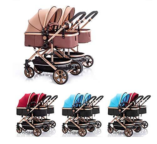 Mr. Fragile Hohe Landschaft Klappdoppelkinderwagen Travel System 3 in 1 Kombi Kinderwagen Zwei-Wege-Klapp Aluminium Buggys für Kinder 0-3 Jahre alt,bluered